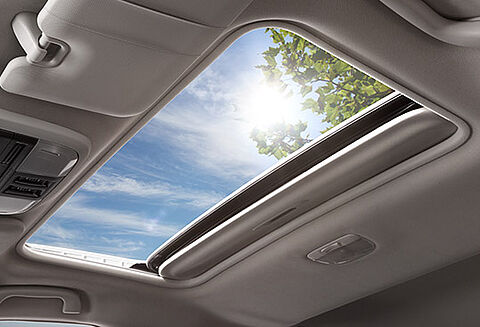 Power-Sliding, Tilt-Adjustable Glass Sunroof